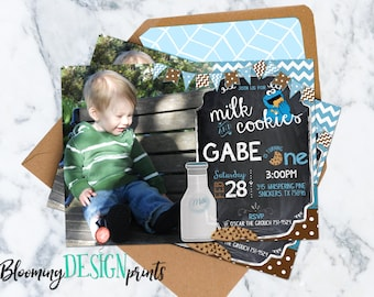 Milk and Cookie Monster Birthday Invitation With Photo