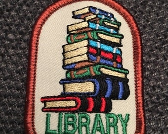Library Books Patch (1) - book lover librarian library card reading bookworm