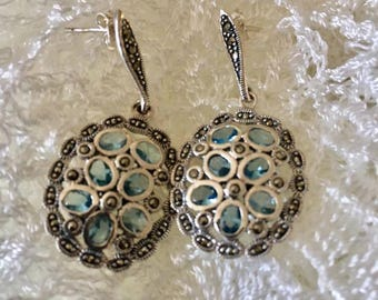 Sterling Silver Marcasite Blue Topaz,Jewelry gift minimalist, Topaz earrings,