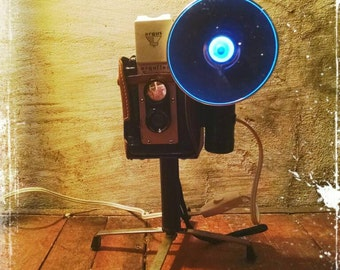 Upcycled retro Argus Seventyfive Camera Lamp with metal stand Restoration Hardware style