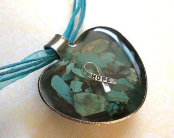Heart Turquoise Hope Awareness Ribbon Teaspoon Necklace Resin Unusual Genuine Gemstone Make Noise for Turquoise! POTS Dysautonomia