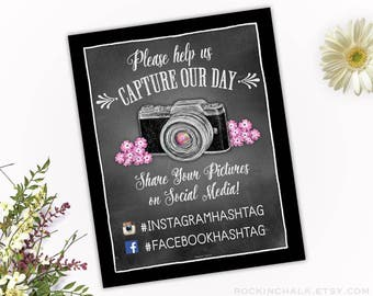 Share on Social Media Hashtag Sign fro Wedding - Personalize with Your Event's Hashtags - Sign for Multiple Social Media Platforms