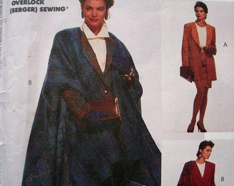 McCalls Sew News Collection Pattern 5639 Misses Lined Jacket in 2 Lengths and Cape Size 12-14-16 Cut-to-Fit Serger Adaptable UNCUT Pattern