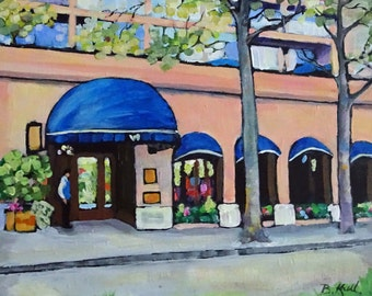 Original Art Painting, Acrylic Painting, City Painting, Vancouver Painting, Wedgewood Hotel Painting 12 X 12 X 1.5 inches