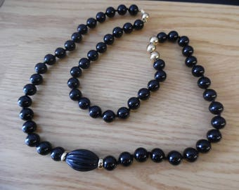 Black Onyx Long Bead Necklace with 14k yellow gold beads and clasp
