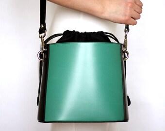 Free shipping! Black green bag, leather bag, green bag, green crossbody, black shoulder bag, everyday bag, small black bag, handbag
