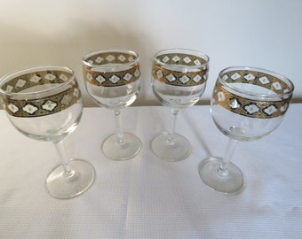 Culver Valencia Green & 22k Gold Wine Glasses - Set of 4 - Mid Century Hollywood Regency Barware