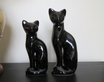 Mid Century MCM Ceramic Black Siamese Cat Statues / Figurines - Mid Century Halloween Decor