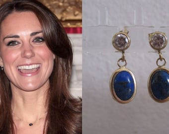 PRE-ORDER Kate Middleton Duchess Cambridge Inspired Replikate Navy Blue Gold Cabochon Sapphire Lapis Lazuli Oval Drop Engagement Earrings