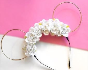White Flower Crown and Gold Wire Mouse Ears Headband