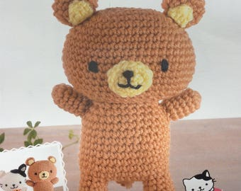 Japanese Hamanaka Crochet Bear Craft Kit- Brown Bear 22 x 15 cm. Amigurumi Bear Kit.
