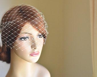 Birdcage veil, bandeau veil, blusher veil, mini veil, ivory birdcage veil, wedding birdcage veil, bridal birdcage veil, vintage veil