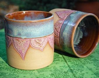 Handmade Ceramic Tumbler set of 2; purple blue mugs, dinner ware, carved ceramic water mugs, rustic pottery, 12oz cups