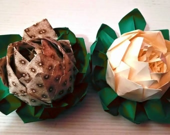 Their flower, water lily, paper flowers, origami, paper flower