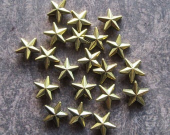 20 Antique Gold Metal Alloy Star Beads 12mm