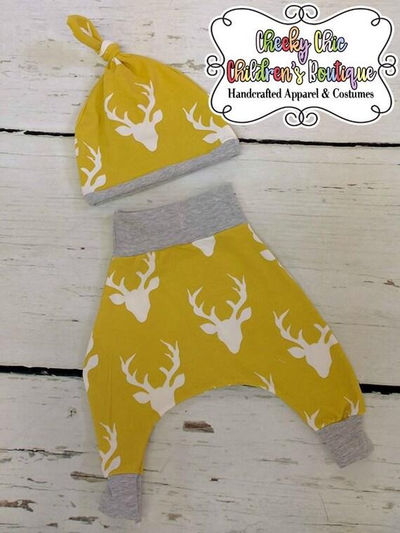 NEWBORN HAREM Pants & Hat Set Handmade - Photo Prop Set - Coming Home Outfit - Deer Antlers