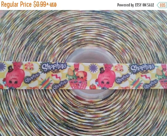 "SUPER SALE SHOPKINS Cartoon Character Inspired 7/8"" 22mm Grosgrain Hair Bow Craft Ribbon 782461"