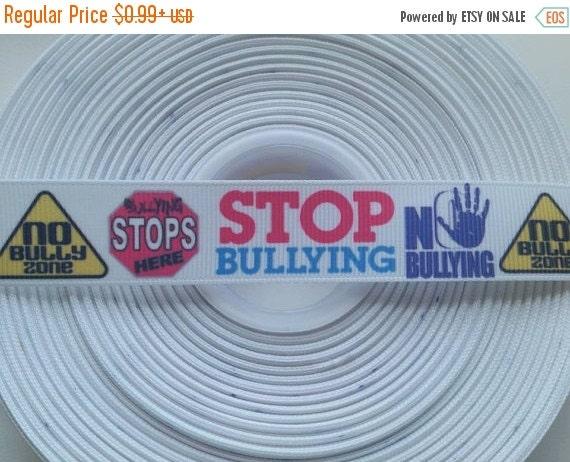 "SUPER SALE STOP Bullying 7/8"" 22mm Grosgrain Hair Bow Craft Ribbon 782497"