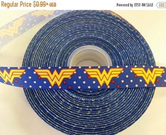 "SUPER SALE WONDER Woman Hero 7/8"" Grosgrain Hair Bow Craft Ribbon 781736"