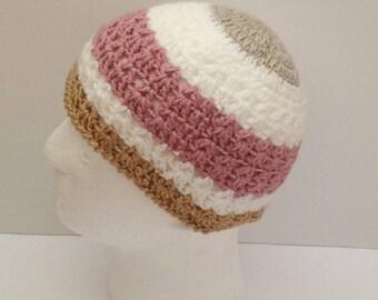 crochet/knitted girls beanie hat, crochet winter beanie hat, toddler kids beanie hat, girls beanie hat, kidswear, chemo hat, birthday gift