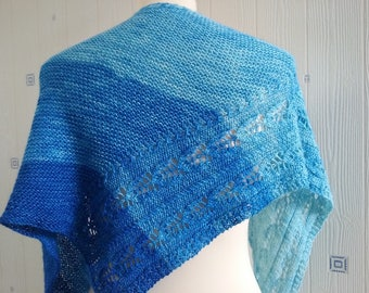blue stripes shawl, hand knitted, merino