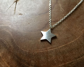 Star - necklace - silvertone, trend, hipster, modern, minimal, star, night, stainless steel, fashion, trendy, silver