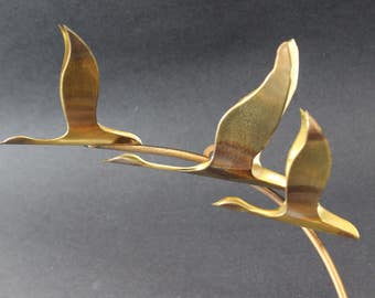 Brass and Copper Metal Art  Wall Sconce