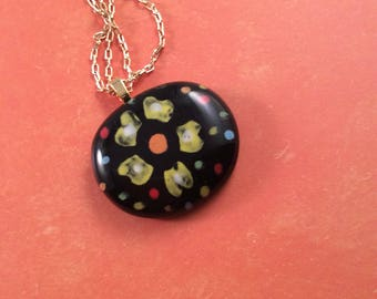 Painted flower glass pendant