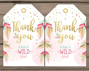 Wild One Favor tags Wild One birthday Thank you tags Label tags Feathers Gift tags Boho Tribal Pink gold Girl birthday Digital PRINTABLE bwo