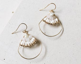Shell Hoop Earrings - 14kt Gold Filled or Sterling Silver