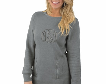 Monogrammed Ladies Sweatshirt Tunic w Zipper Pockets