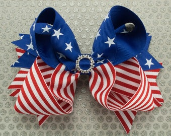 Patriotic Stars and Stripes Boutique Hair Bow with Spikes
