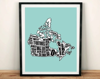 """Map of Canada, Canada Map, Printable Canada Map, Instant Download, Canadian Map, Home Decor, Canada, Typography Map, 8x10"""", 11x14"""""""
