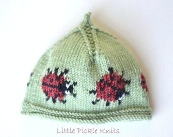 NEW! - KNITTING PATTERN Baby Beanie 'Little Ladybird'