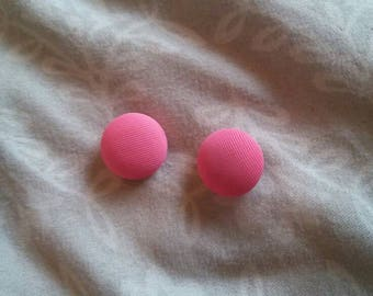 Bubble Gum Pink Vintage Fabric Buttons Set of Two