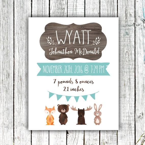 Birth Announcement Printable, Birth Stats, Baby Boy, Woodland Nursery,  Customized Printable File  #09