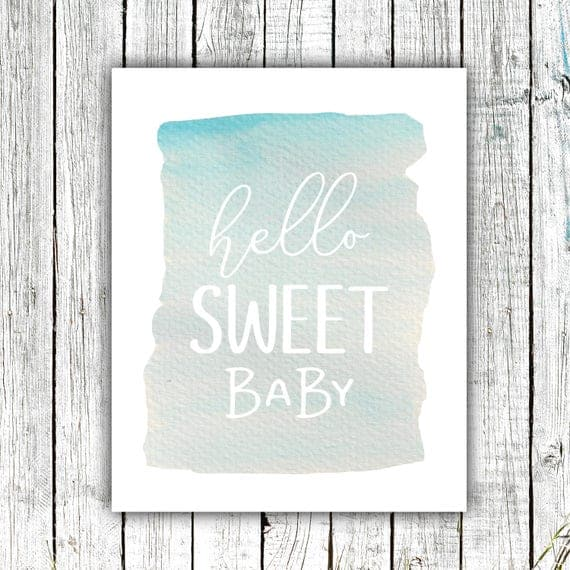Nursery Wall Art Printable, Hello Sweet Baby, Watercolor, Blue, Ocean, Digital Download Size 8x10 #639