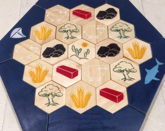 Catan, Settlers Board, Settlers Of Catan, Painted Settlers Of Catan, Handcrafted Settlers Of Catan, Custom Settlers Board, Wood Settlers