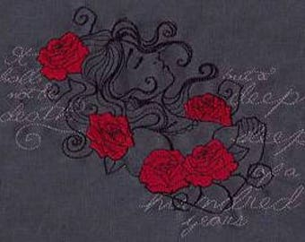 Embroidered Patch / applique - dark fairytales sleeping beauty- sew or glue on 4 x 4 inch ANY COLORS