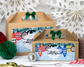 Personalised Christmas Eve Gift Box | XMAS SCENE | Kraft box with ribbon bow