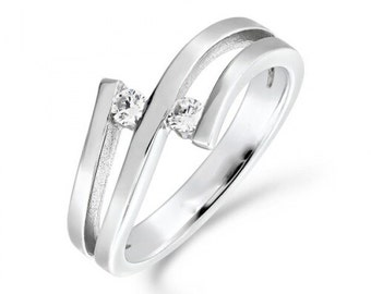 0.10ct Tension Set Diamond Engagement Ring