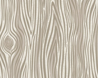 Taupe Woodgrain Organic Fabric - By The Yard - Girl / Boy / Gender Neutral