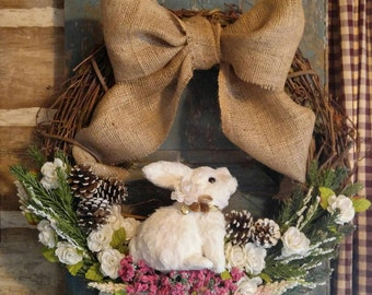 Adorable Woodland Grapevine Bunny Wreath..Cottage Wreath, Woodland Wreath, Bunny Wreath, Spring and Summer Wreath. Running Rustic Original
