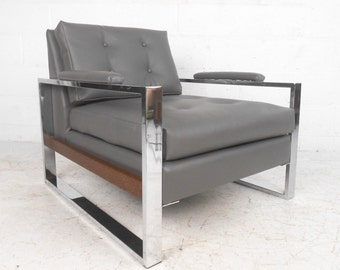 Milo Baughman Style Chrome and Vinyl Club Chair (8027)JR