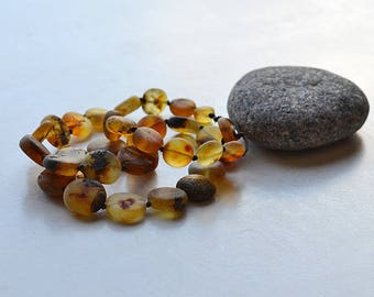 Tablet form necklace/ unique style/ Baltic amber/ unpolished / long necklace/ handmade/ best gift for her