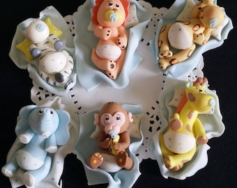 Jungle Baby Shower, Safari Decoration, Cake Baby Animals, Safri Baby Shower, Jungle Animals Picks, Safari Baby Shower, Jungle Decorations
