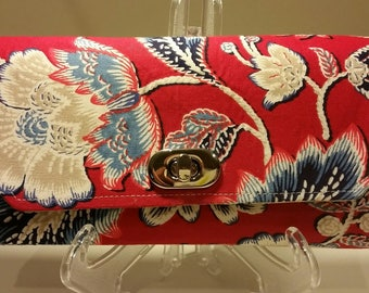 Necessary Travel/Clutch Wallet - Red Flowers