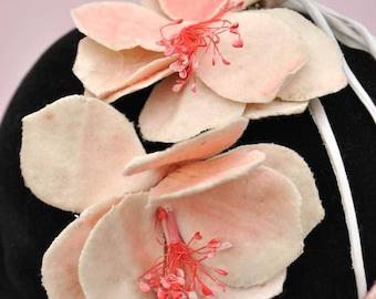Vintage 20s Pink Velvet Millinery Flowers • Hair Decoration