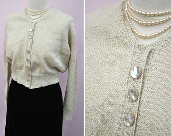 Vintage 1930s Hand Knitted Muted Gold Cardigan