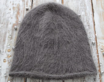 White Mohair Slouchy Hat. Winter Hat. Knit Womens Hat